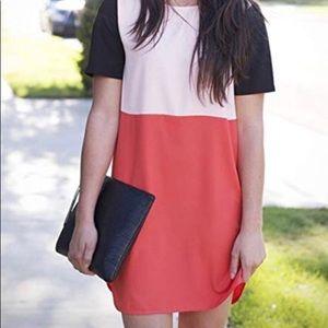 Neon Orange Color Block Tunic Top